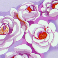 "Printed Charmeuse, 45"" - Bed of Roses, Pink / Lavender 011B - 9217-4"