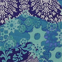 "Printed Crepe De Chine, 14mm,  45"" - Jigsaw - Aqua 014F - 1318-3"