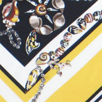 "Printed Crepe De Chine, 14mm,  45"" - Sea Beads - Gold/Black 014F - 9203-1"