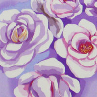 "Printed Crepe De Chine, 14mm,  45"" - Bed of Roses, Lavender / White 014F - 9217-5"