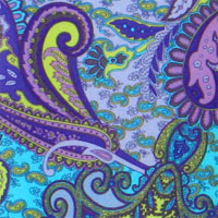 "Printed Charmeuse, 16mm, 45"" - Nouveau Paisley-Turq/Lav/Sulpher 11JP - 9229-8"