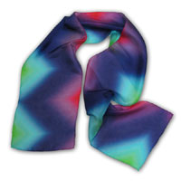"10X60"" 6MM China Silk Scarf, Diamond Rainbow, Pink/Purple/Blue 401P-1B"
