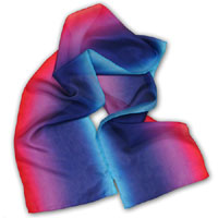 "10X60"" 6MM China Silk Scarf, Ombre Stripe, Pink/Purple/Blue 401P-2B"