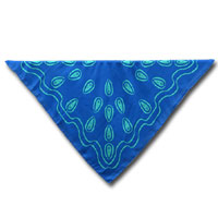 "36X36"" Print China Silk Scarf - Simple Paisley-Turquoise on Olympic Blue 402P - 1420-1"