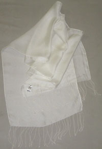"Mesh Silk Scarf with 3.5"" Self Fringe, White, 12 x 60 765"