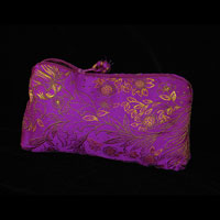"Brocade Small Cosmetic Bag, 5x8"" - Cerise 834 - 002"