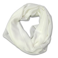 "Infinity Scarf, 72"" Around, 17"" Wide 14MM Crepe, Natural White 843"