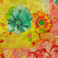 "Digital Print 16MM Charmeuse, 54"" - Daisies on Scroll-Pink/Yellow/Aqua 11JD - 1317-1"