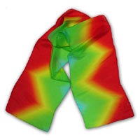 "10X60"" 6MM China Silk Scarf, Diamond Rainbow - Red/Yellow/Green 401P-1A"