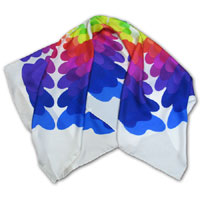 "34X34"" Printed Silk Twill Scarf, Color Palette, Multi color on White 402P-6A"