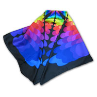 "34X34"" Printed Silk Twill Scarf, Color Palette multi on Black 402P-6B"