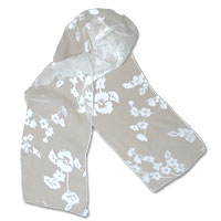 "8X54"" Burn-Out Satin Scarf-Small Flowers-White 446-9"