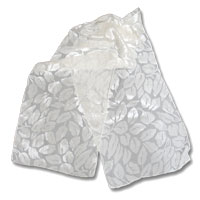 "Burn out Velvet Scarf, 11X60"" Natural White - Tumbled Leaves 514V - 10-000"